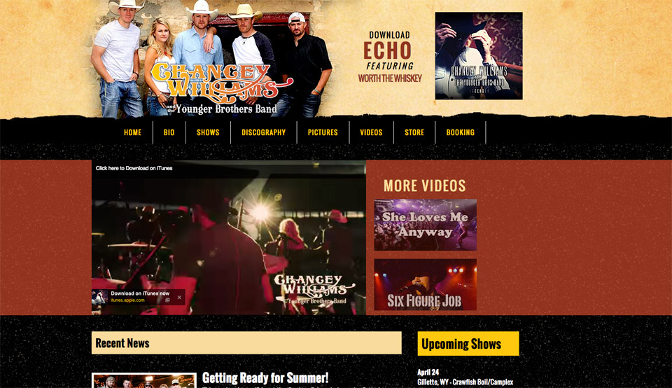 Chancey Williams and the Younger Brothers Band Website