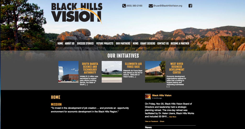 Black Hills Vision Website